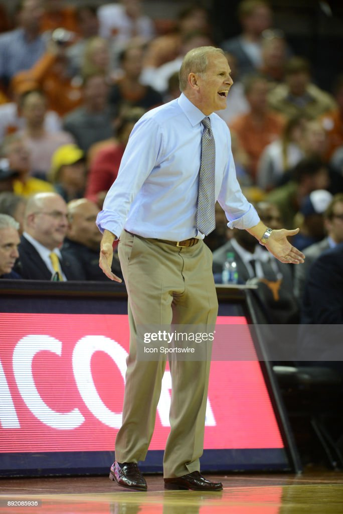 Michigan Wolverine head coach John Beilein yells in frustration during 59 - 52 win over the Texas Longhorns on December 12, 2017 at the Frank Erwin Center in Austin, TX.