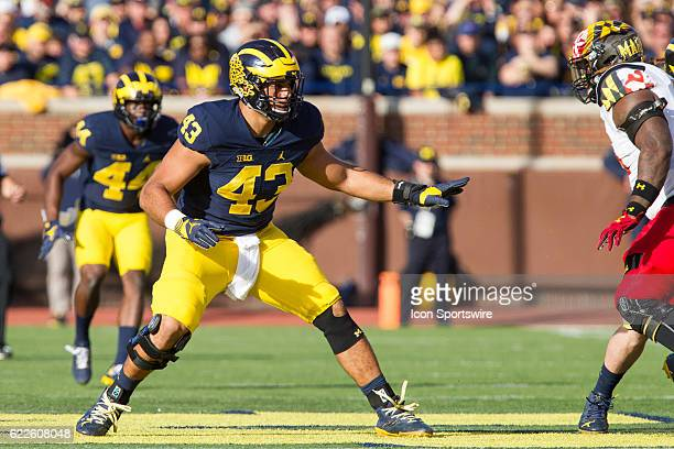Michigan Wolverines defensive end Chris Wormley defends during game action between the Maryland Terrapins and the Michigan Wolverines on November 5...