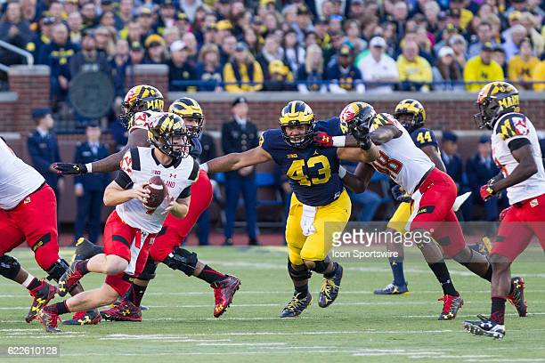 Michigan Wolverines defensive end Chris Wormley fights through a block during game action between the Maryland Terrapins and the Michigan Wolverines...