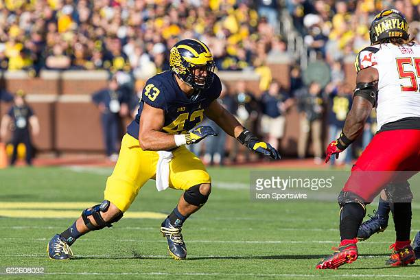 Michigan Wolverines defensive end Chris Wormley rushes during game action between the Maryland Terrapins and the Michigan Wolverines on November 5 at...