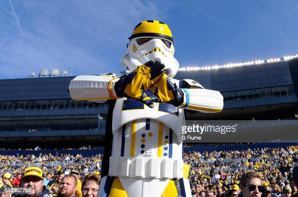 Michigan Wolverines fan wears a storm trooper costume during the game against the Maryland Terrapins at Michigan Stadium on November 5 2016 in Ann...