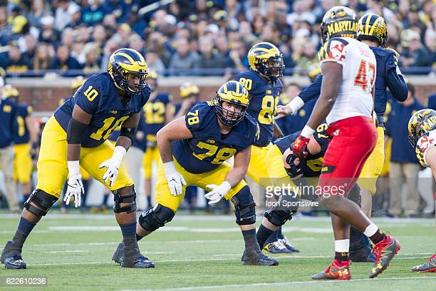Michigan Wolverines offensive lineman Erik Magnuson waits for the ball to be snapped during game action between the Maryland Terrapins and the...