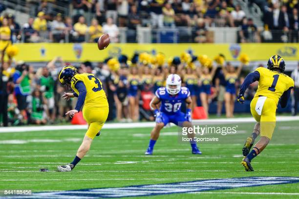 Michigan Wolverines place kicker Quinn Nordin kicks the opening kickoff during the game between the Michigan Wolverines and the Florida Gators on...