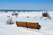 Michigan's Mackinac Bridge in winter