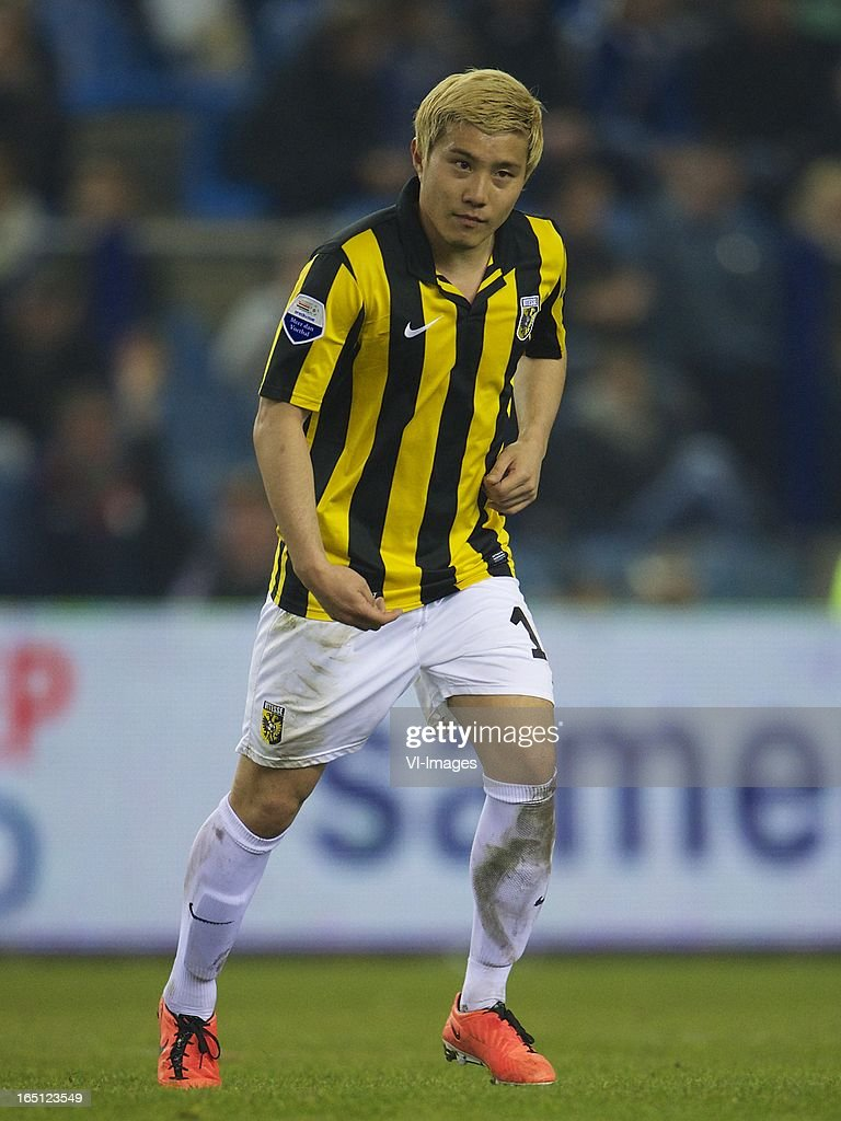 Michihiro Yasuda of Vitesse during the Dutch Eredivisie match between Vitesse Arnhem and PEC Zwolle at the Gelredome on march 31, 2013 in Arnhem, The Netherlands.