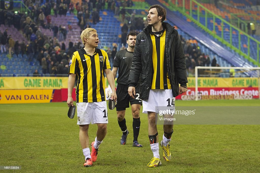 Michihiro Yasuda of Vitesse, goalkeeper Piet Velthuizen of Vitesse, Mike Havenaar of Vitesse during the Dutch Eredivisie match between Vitesse Arnhem and PEC Zwolle at the Gelredome on march 31, 2013 in Arnhem, The Netherlands