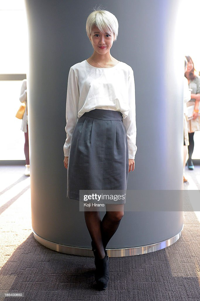 Michiru Ohtake wears a top and a skirt from her mother, and shoes by ESPERANZA at Mercedes-Benz Fashion Week Tokyo Spring/Summer 2014 on October 14, 2013 in Tokyo, Japan.