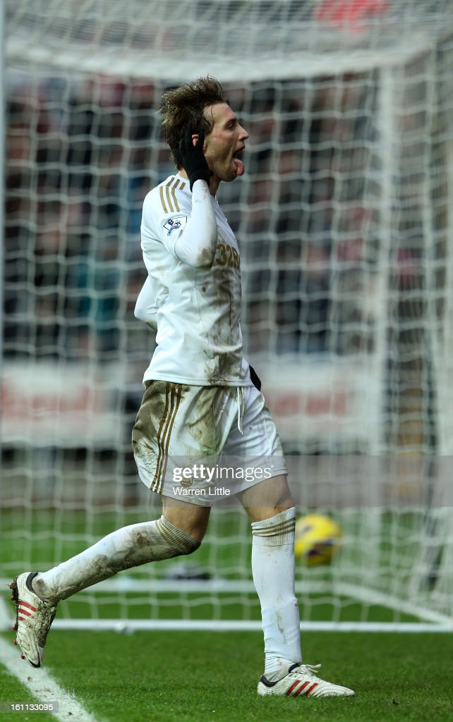 Michu of Swansea City celebrates scoring the fourth goal during the Premier League match between Swansea City and Queens Park Rangers at Liberty Stadium on February 9, 2013 in Swansea, Wales.