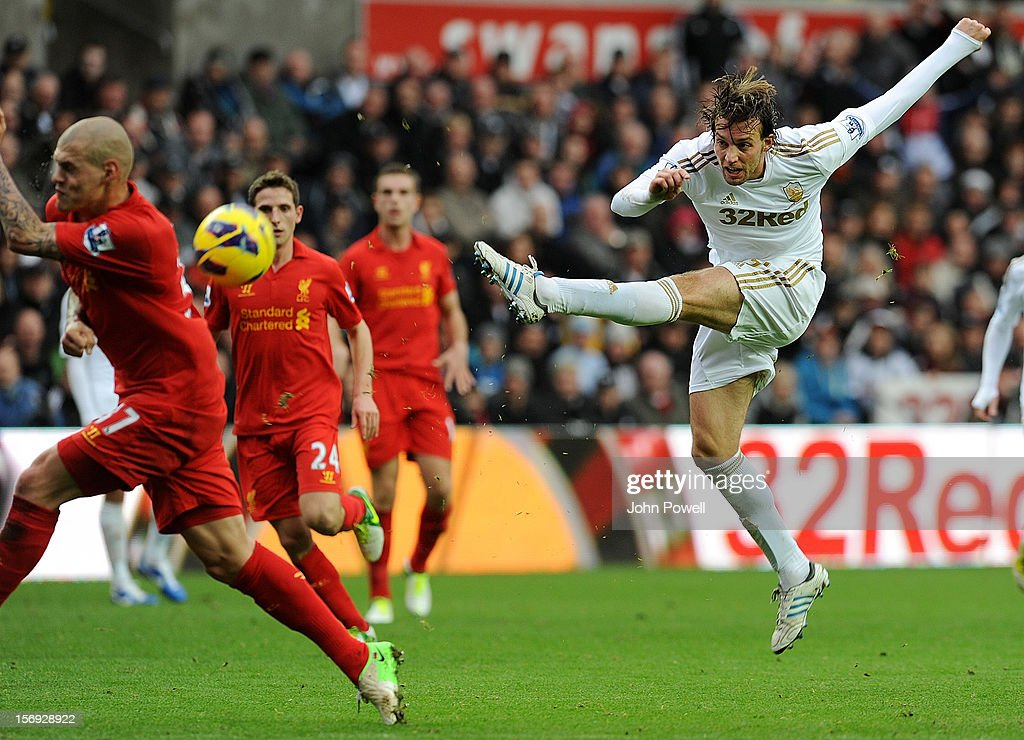 Michu of Swansea City comes close during the Barclays Premier League match between Swansea City and Liverpool at Liberty Stadium on November 25, 2012 in Swansea, Wales.