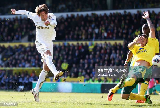 Michu of Swansea City scores a goal during the Barclays Premier League match between Norwich City and Swansea City at Carrow Road on April 6 2013 in...