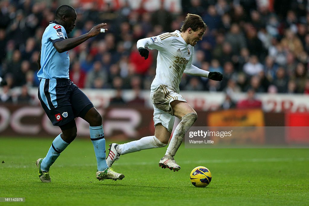 Michu of Swansea City scores the fourth goal during the Premier League match between Swansea City and Queens Park Rangers at Liberty Stadium on February 9, 2013 in Swansea, Wales.
