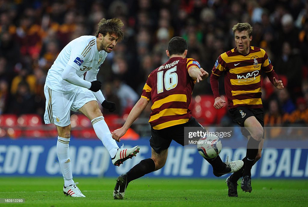 Michu of Swansea City scores their second goal during the Capital One Cup Final match between Bradford City and Swansea City at Wembley Stadium on February 24, 2013 in London, England.