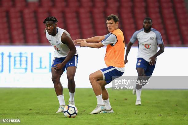 Michy Batshuayi and Andreas Christensen of Chelsea during a training session at the Birds Nest Stadium on July 21 2017 in Beijing