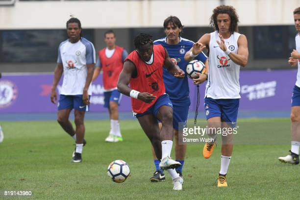 Michy Batshuayi and David Luiz of Chelsea during a training session at the AOTI Stadium on July 20 2017 in Beijing China