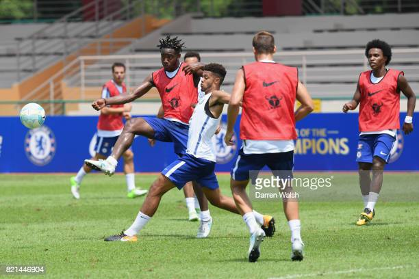 Michy Batshuayi and Jake ClarkeSalter of Chelsea during a training session at Singapore American School on July 24 2017 in Singapore