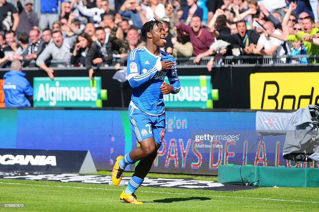 Michy Batshuayi celebrates during the French Ligue 1 match between Angers SCO and Olympique de Marseille on May 1, 2016 in Angers, France.