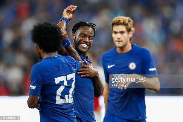 Michy Batshuayi celebrates with Willian of Chelsea after scoring the second goal during the PreSeason Friendly match between Arsenal FC and Chelsea...