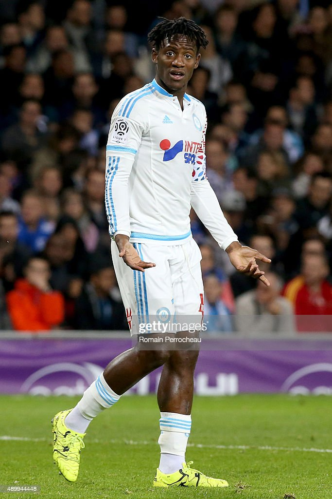 <a gi-track='captionPersonalityLinkClicked' href=/galleries/search?phrase=Michy+Batshuayi&family=editorial&specificpeople=8599446 ng-click='$event.stopPropagation()'>Michy Batshuayi</a> for Olympique de Marseille gestures during the French Ligue 1 game between Toulouse FC and Olympique de Marseille at Stadium Municipal on September 23, 2015 in Toulouse, France.