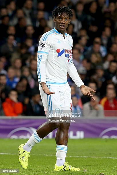 Michy Batshuayi for Olympique de Marseille gestures during the French Ligue 1 game between Toulouse FC and Olympique de Marseille at Stadium...