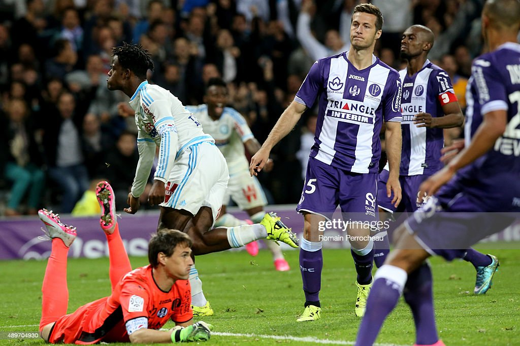 <a gi-track='captionPersonalityLinkClicked' href=/galleries/search?phrase=Michy+Batshuayi&family=editorial&specificpeople=8599446 ng-click='$event.stopPropagation()'>Michy Batshuayi</a> for Olympique de Marseille reacts after his goal during the French Ligue 1 game between Toulouse FC and Olympique de Marseille at Stadium Municipal on September 23, 2015 in Toulouse, France.