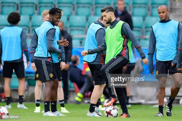Michy Batshuayi forward of Belgium and Yannick Carrasco forward of Belgium in action during a training session of the National Soccer Team of Belgium...