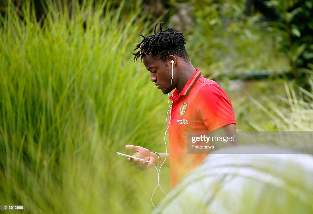 Michy Batshuayi forward of Belgium before a closed training session of the National Soccer Team of Belgium as part of the preparation prior to the UEFA EURO 2016 quarter final match between Wales and Belgium at the Chateau de Haillan training center on June 29, 2016 in Bordeaux, France ,
