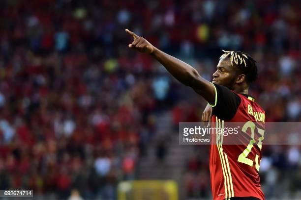 Michy Batshuayi forward of Belgium celebrates scoring a goal during a FIFA international friendly match between Belgium and Czech Republic at the...