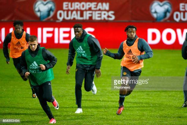 Michy Batshuayi forward of Belgium Divock Origi forward of Belgium and Thorgan Hazard midfielder of Belgium pictured in action during a training...