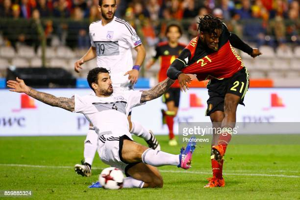 Michy Batshuayi forward of Belgium during the World Cup Qualifier Group H match between Belgium and Cyprus at the King Baudouin Stadium on October 10...