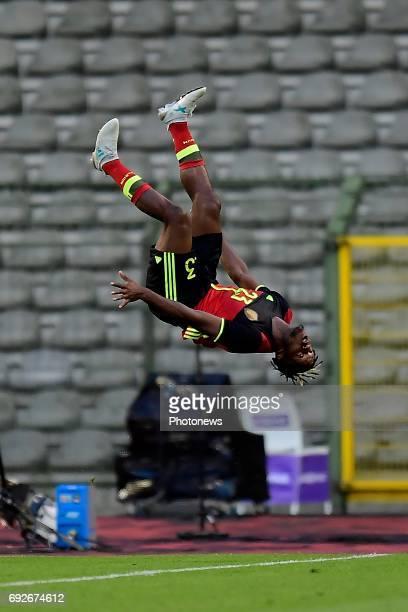 Michy Batshuayi forward of Belgium jumps a flip to celebrate scoring a goal during a FIFA international friendly match between Belgium and Czech...