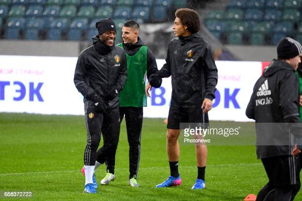 Michy Batshuayi forward of Belgium Kevin Mirallas forward of Belgium Axel Witsel midfielder of Belgium during a training session before the...