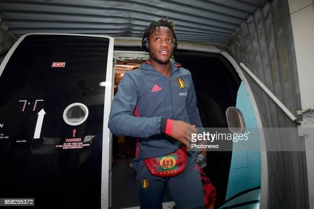 Michy Batshuayi forward of Belgium pictured during the arrival of the National Soccer Team of Belgium prior to the 2018 World Cup qualifier against...