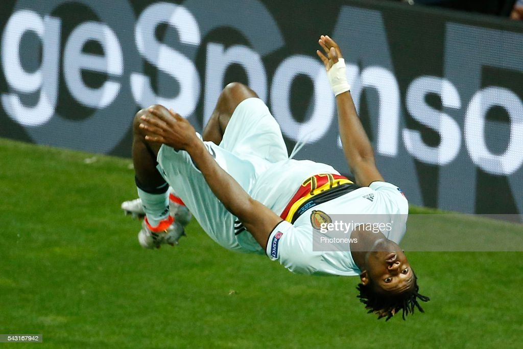 Michy Batshuayi forward of Belgium scores and celebrates during the UEFA EURO 2016 Round of 16 match between Hungary and Belgium at the Stadium Toulouse on June 26, 2016 in Toulouse, France ,