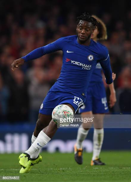 Michy Batshuayi in action during the Carabao Cup Third Round match between Chelsea and Nottingham Forest at Stamford Bridge on September 19 2017 in...