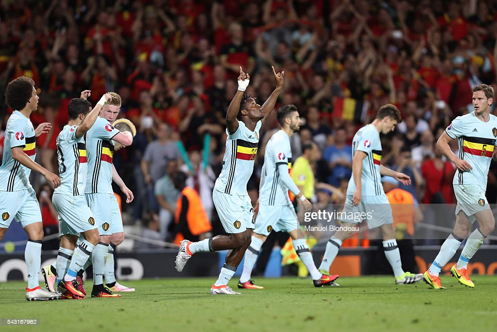 Michy Batshuayi of Belgium celebrates after scoring a goal during the European Championship match Round of 16 between Hungary and Belgium at Stadium Municipal on June 26, 2016 in Toulouse, France.