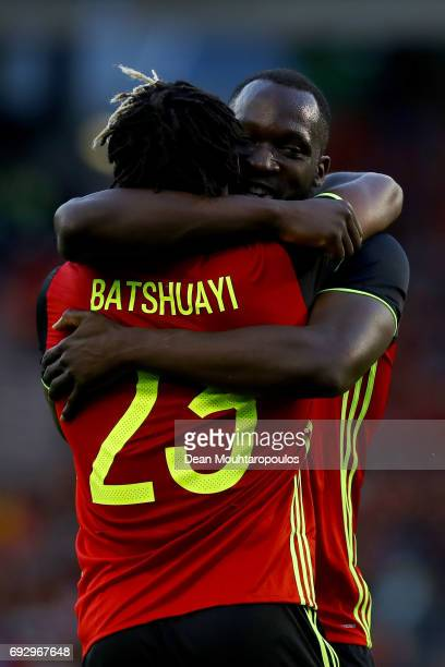 Michy Batshuayi of Belgium celebrates scoring his teams first goal of the game with team mate Romelu Lukaku during the International Friendly match...