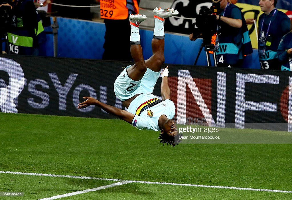 <a gi-track='captionPersonalityLinkClicked' href=/galleries/search?phrase=Michy+Batshuayi&family=editorial&specificpeople=8599446 ng-click='$event.stopPropagation()'>Michy Batshuayi</a> of Belgium celebrates scoring his team's second goal during the UEFA EURO 2016 round of 16 match between Hungary and Belgium at Stadium Municipal on June 26, 2016 in Toulouse, France.