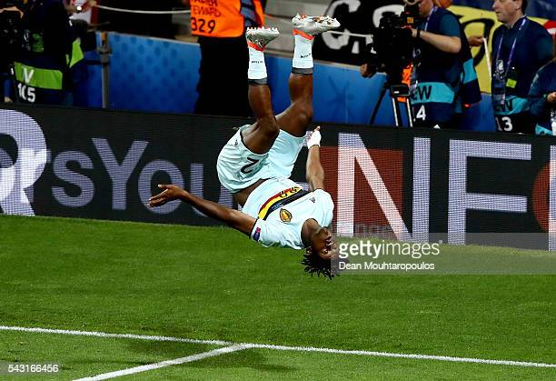 Michy Batshuayi of Belgium celebrates scoring his team's second goal during the UEFA EURO 2016 round of 16 match between Hungary and Belgium at...
