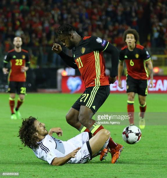 Michy Batshuayi of Belgium in action during the FIFA 2018 World Cup Qualifier soccer match between Belgium and Greek Cypriot national team at the...
