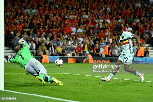 Michy Batshuayi of Belgium scores his team's second goal past Gabor Kiraly of Hungary during the UEFA EURO 2016 round of 16 match between Hungary and...