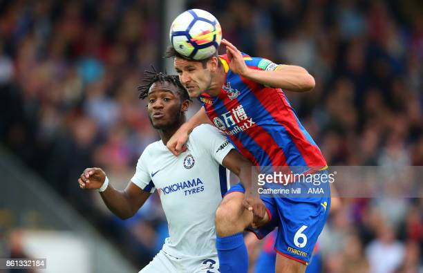Michy Batshuayi of Chelsea and Scott Dann of Crystal Palace during the Premier League match between Crystal Palace and Chelsea at Selhurst Park on...
