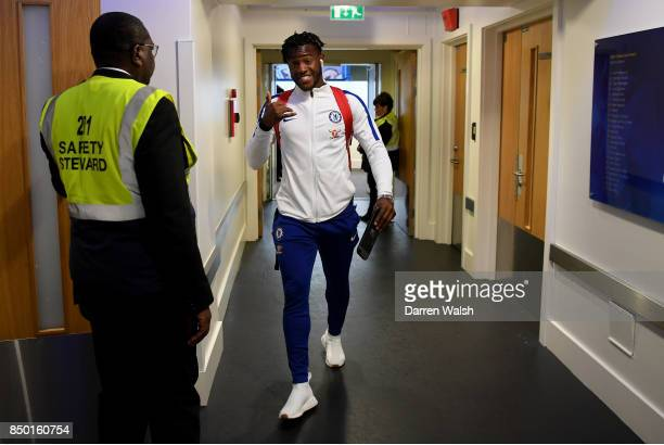 Michy Batshuayi of Chelsea arrives at the stadium prior to the Carabao Cup Third Round match between Chelsea and Nottingham Forest at Stamford Bridge...