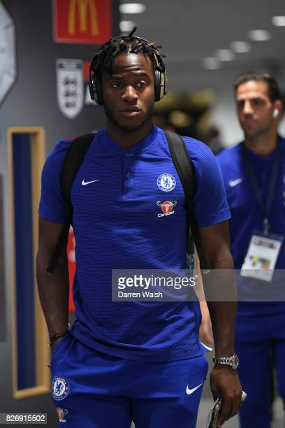 Michy Batshuayi of Chelsea arrives at the stadium prior to the The FA Community Shield final between Chelsea and Arsenal at Wembley Stadium on August...