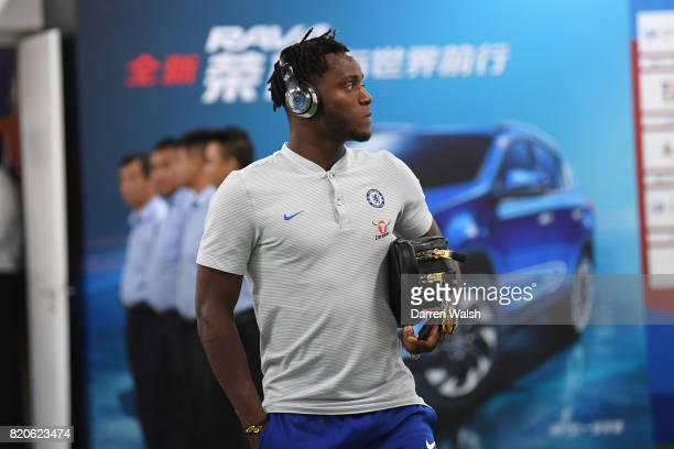 Michy Batshuayi of Chelsea arrives before a friendly match between Chelsea and Arsenal at Birds Nest on July 22 2017 in Beijing China