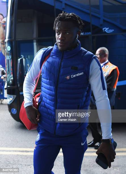 Michy Batshuayi of Chelsea arrives for the Premier League match between Chelsea and Arsenal at Stamford Bridge on September 17 2017 in London England