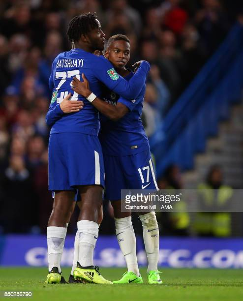 Michy Batshuayi of Chelsea celebrates after he scores to make it 40 with Charly Musonda of Chelsea during the Carabao Cup Third Round match between...