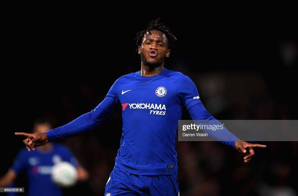 Michy Batshuayi of Chelsea celebrates after scoring during the Carabao Cup Third Round match between Chelsea and Nottingham Forest at Stamford Bridge on September 19, 2017 in London, England.