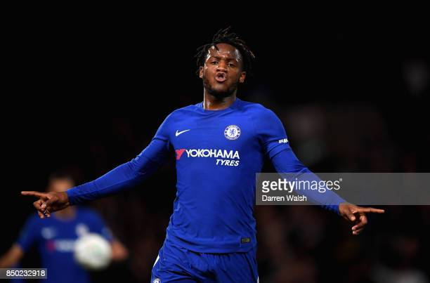 Michy Batshuayi of Chelsea celebrates after scoring during the Carabao Cup Third Round match between Chelsea and Nottingham Forest at Stamford Bridge...