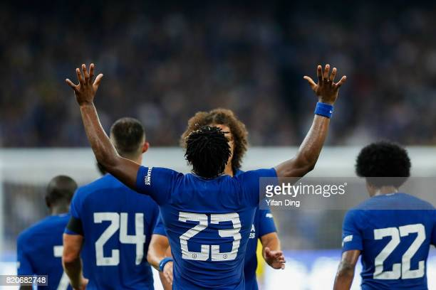 Michy Batshuayi of Chelsea celebrates after scoring during the PreSeason Friendly match between Arsenal FC and Chelsea FC at Birds Nest on July 22...