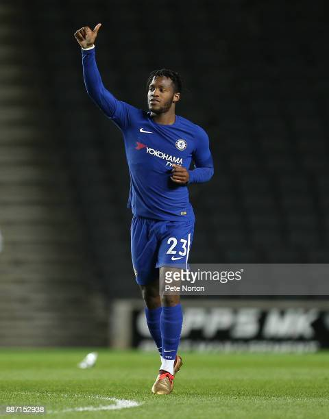 Michy Batshuayi of Chelsea celebrates after scoring his sides and his sides second goal during the Checkatrade Trophy Second Round match between...